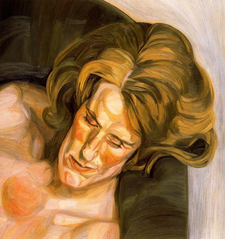 Head on a Green Sofa - Lucian Freud