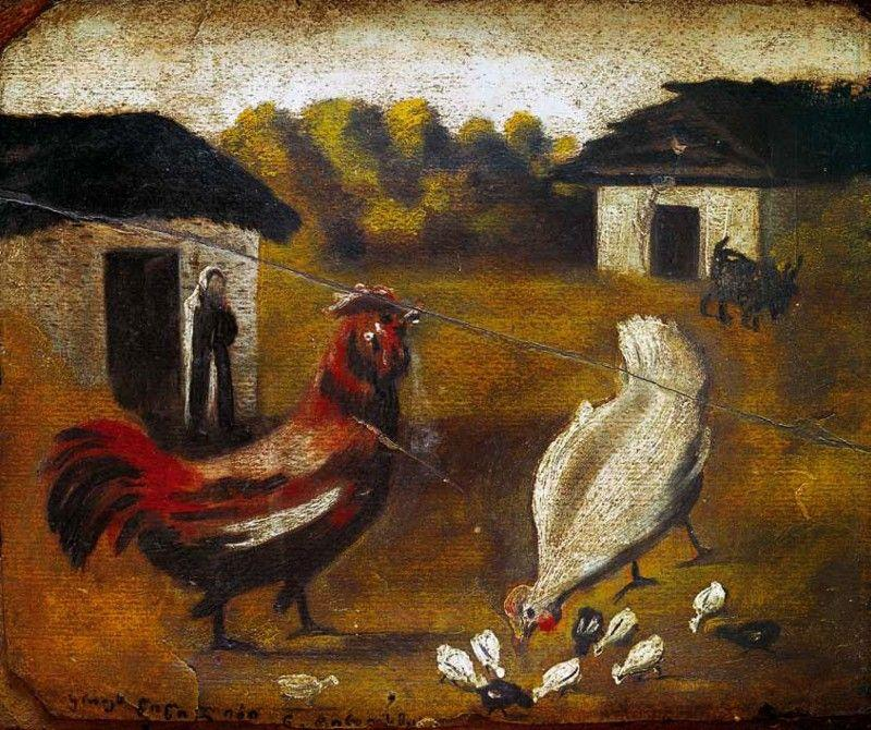 Hen with chicken - Niko Pirosmani