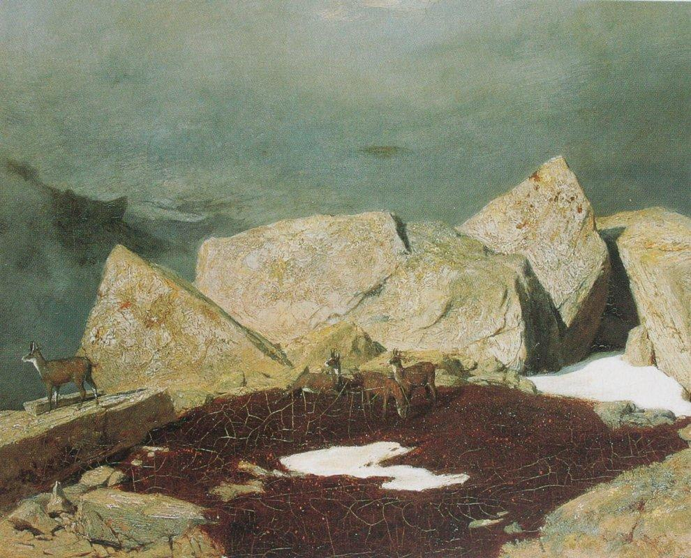 High mountains with chamoises - Arnold Bocklin