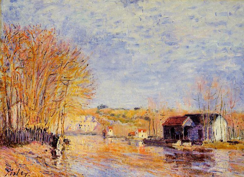 High Waters at Moret sur Loing - Alfred Sisley