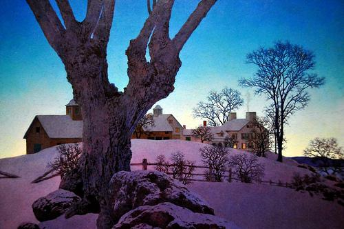Hill Top Farm, Winter - Maxfield Parrish