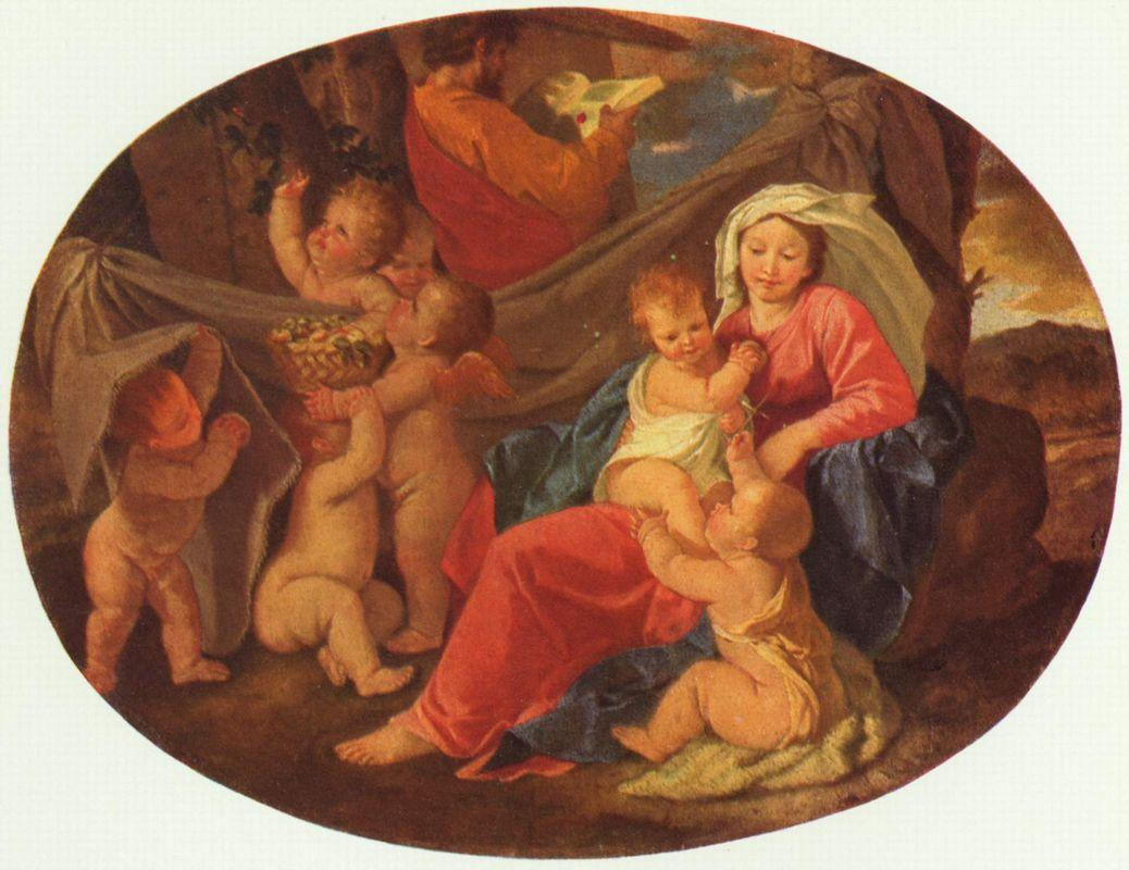 Holy Family with Angels - Nicolas Poussin