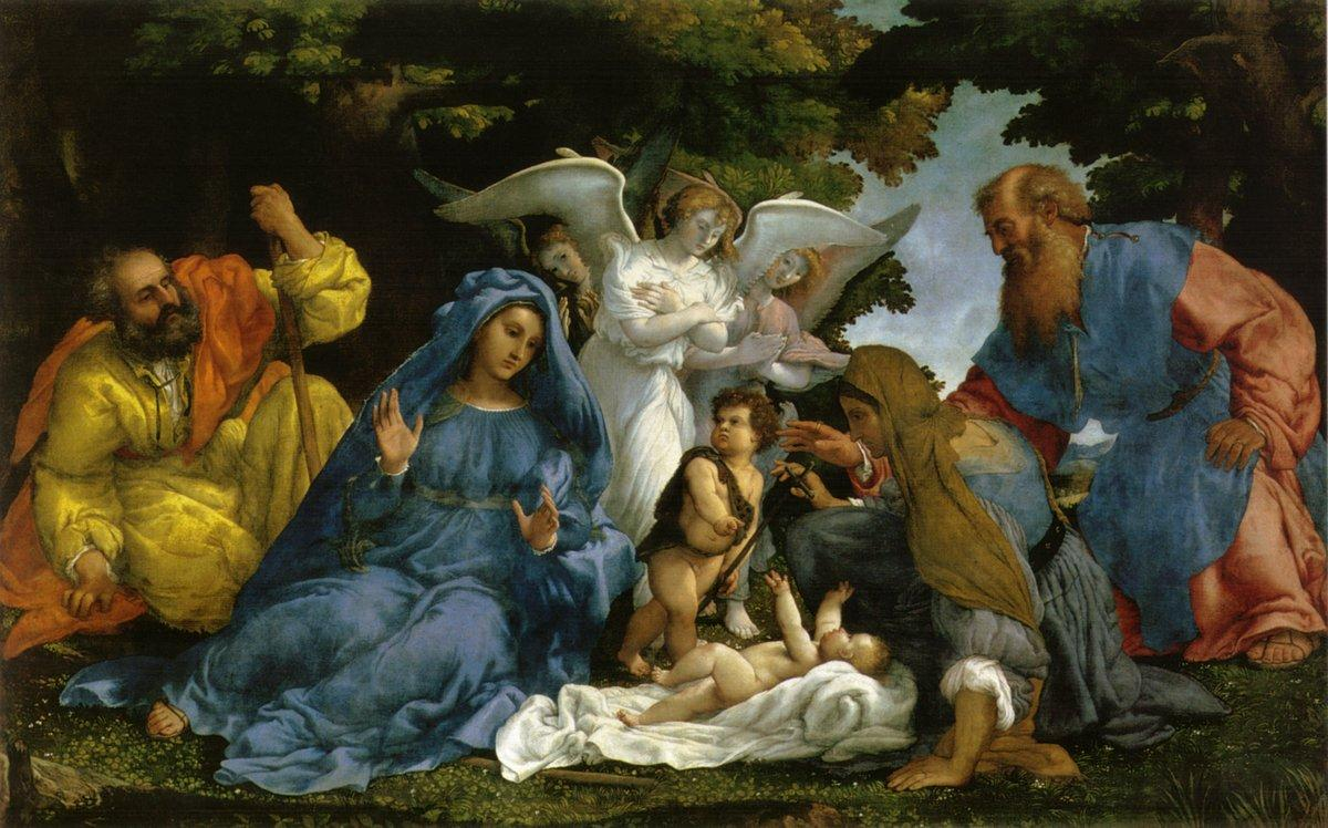 Holy Family with angels and saints  - Lorenzo Lotto