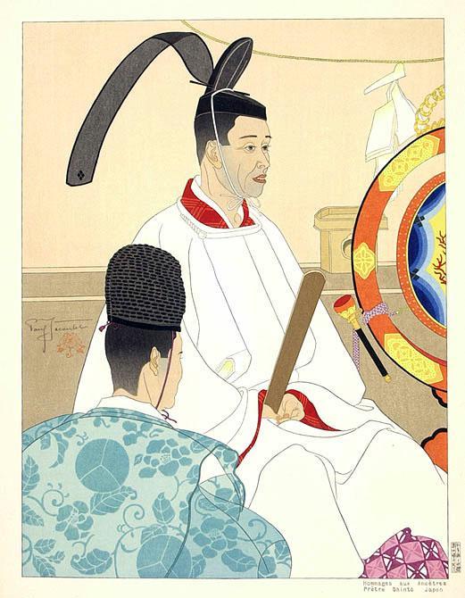 Hommages Aux Ancetres- Pretre. Shinto, Japon - Paul Jacoulet