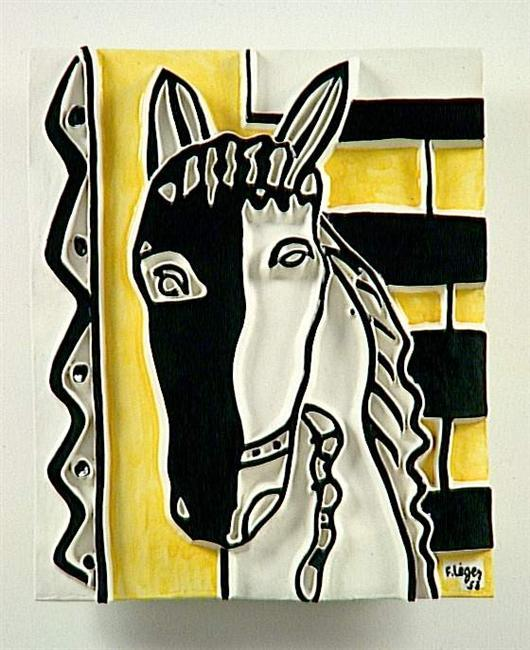 Horse head on a yellow background  - Fernand Leger