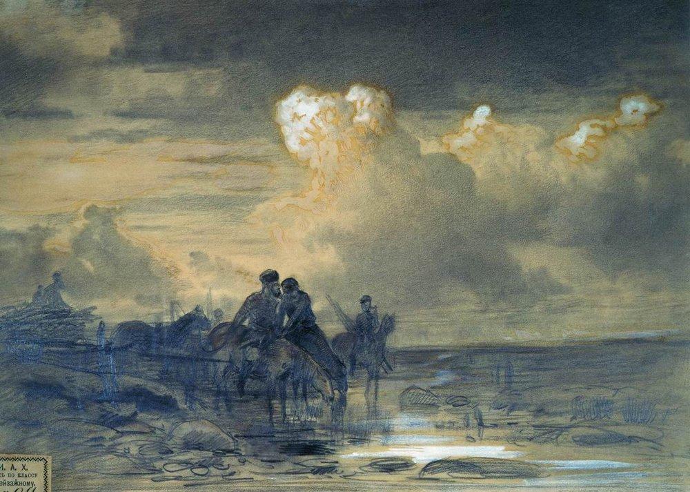 Horses at the Watering - Fyodor Vasilyev