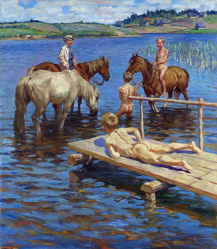 Horses Bathing - Nikolay Bogdanov-Belsky