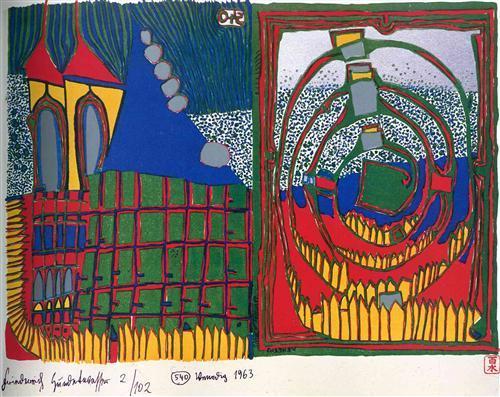 540 House and Spiral in the Rain - Friedensreich Hundertwasser