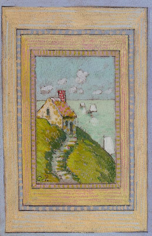 House on a Cliff - Camille Pissarro