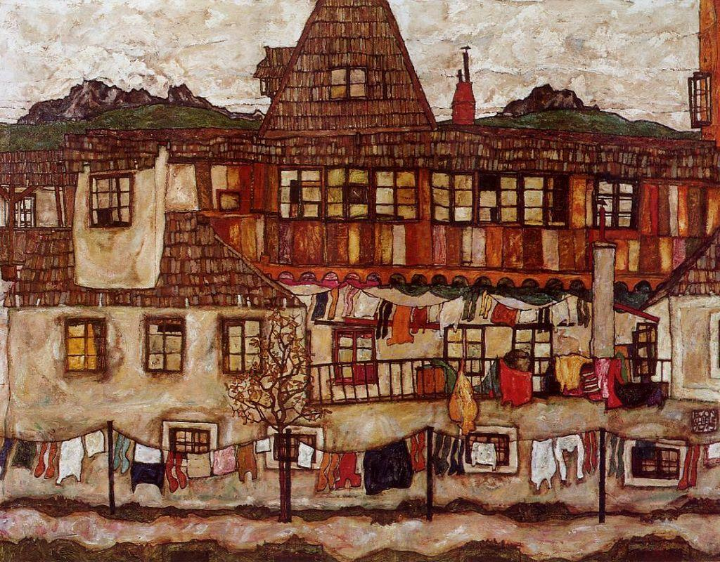 House with Drying Laundry - Egon Schiele