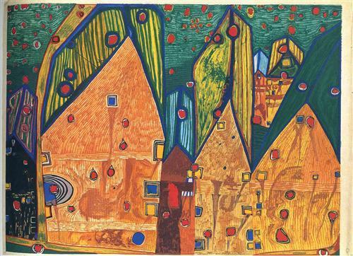 484A  Houses in Rain of Blood - Friedensreich Hundertwasser