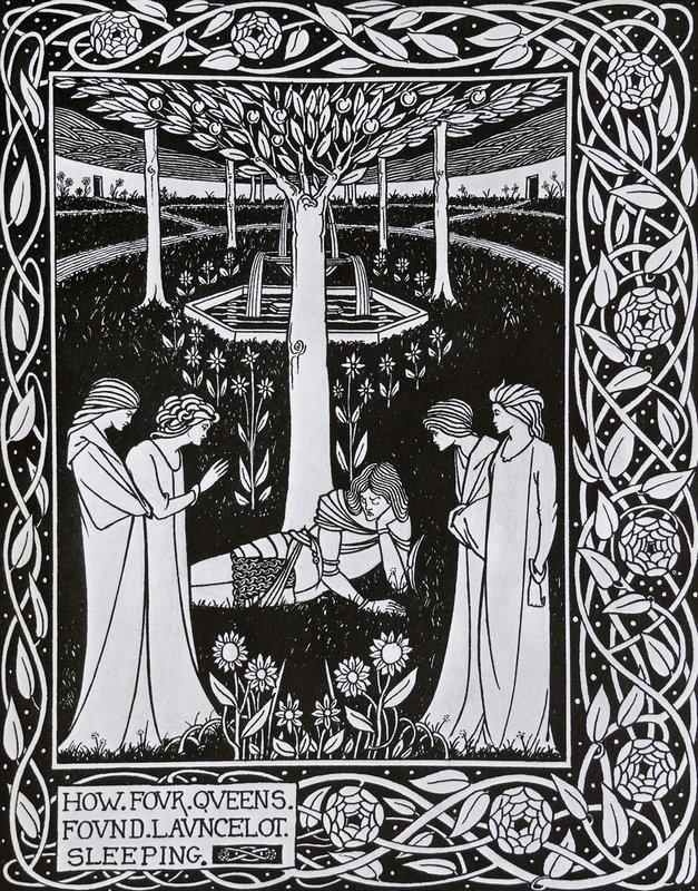 How Four Queens found Launcelot Sleeping - Aubrey Beardsley