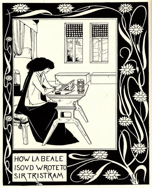How La Beale Isoud Wrote to Sir Tristram   - Aubrey Beardsley