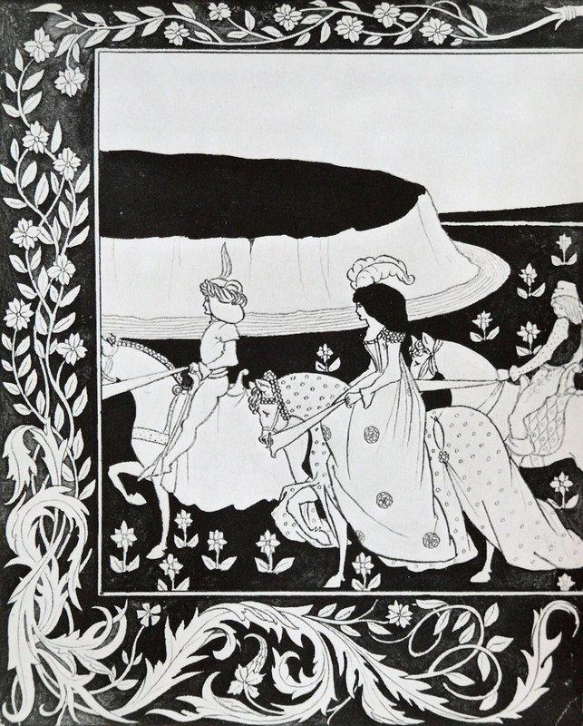 How Queen Guenever rode on Maying I - Aubrey Beardsley