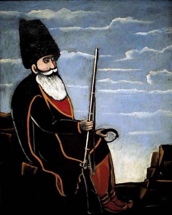 Hunter with a gun and trap - Niko Pirosmani