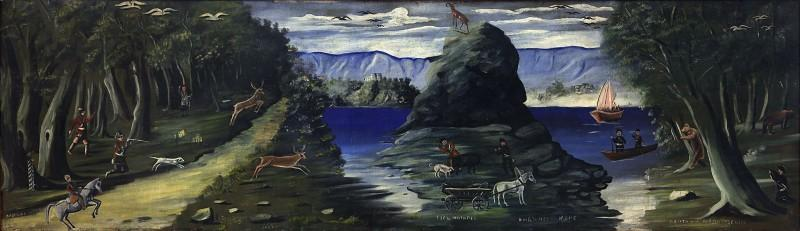 Hunting Scene with a View of the Black Sea - Niko Pirosmani