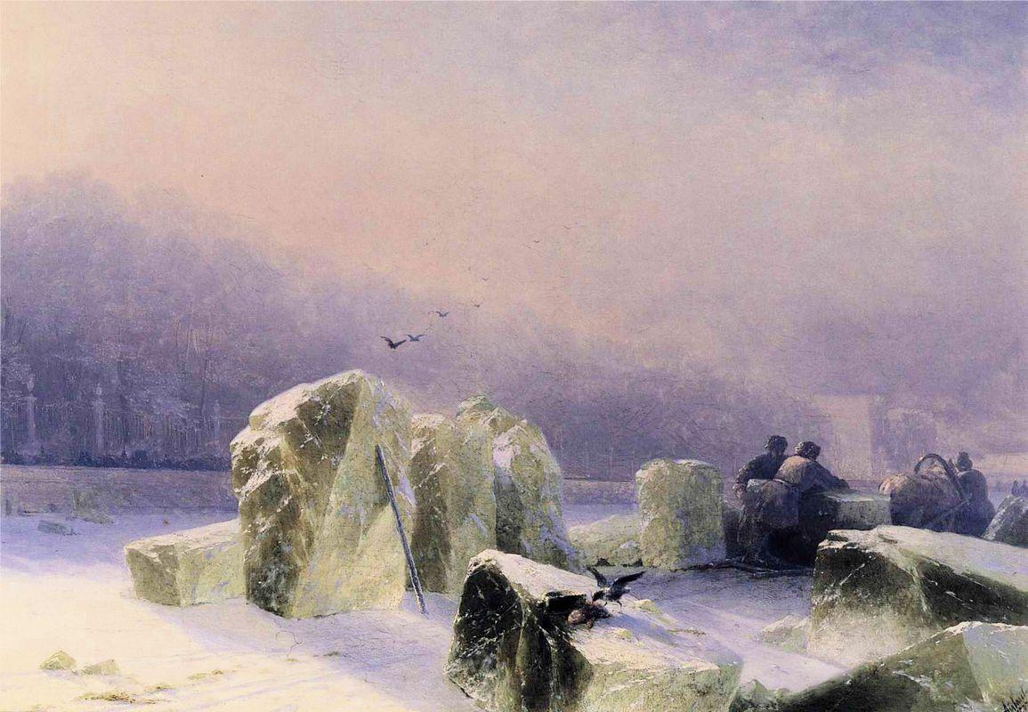 Ice Breakers on the Frozen Neva in St. Petersburg - Ivan Aivazovsky