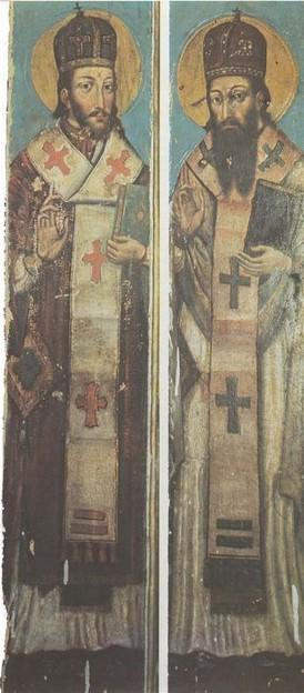Icon of St. John Chrysostom and St. Basil the Great from the village of Horodyshche in Volhynia (late 17th century). - Yov Kondzelevych