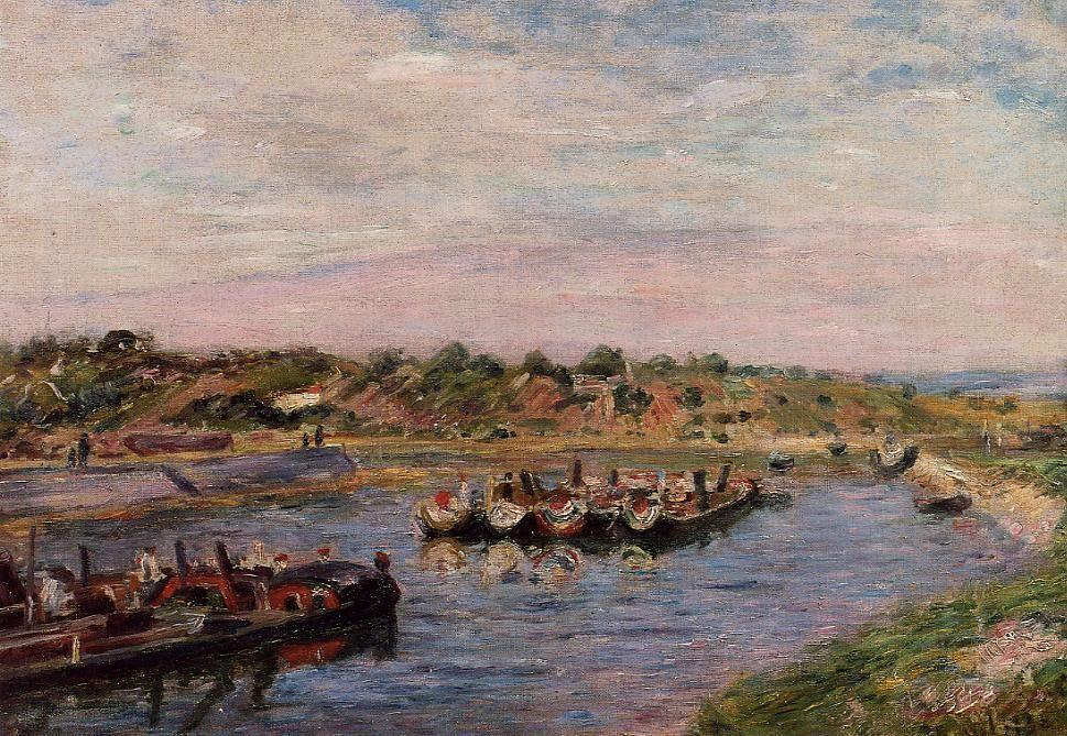 Idle Barges on the Loing Canal at Saint Mammes - Alfred Sisley