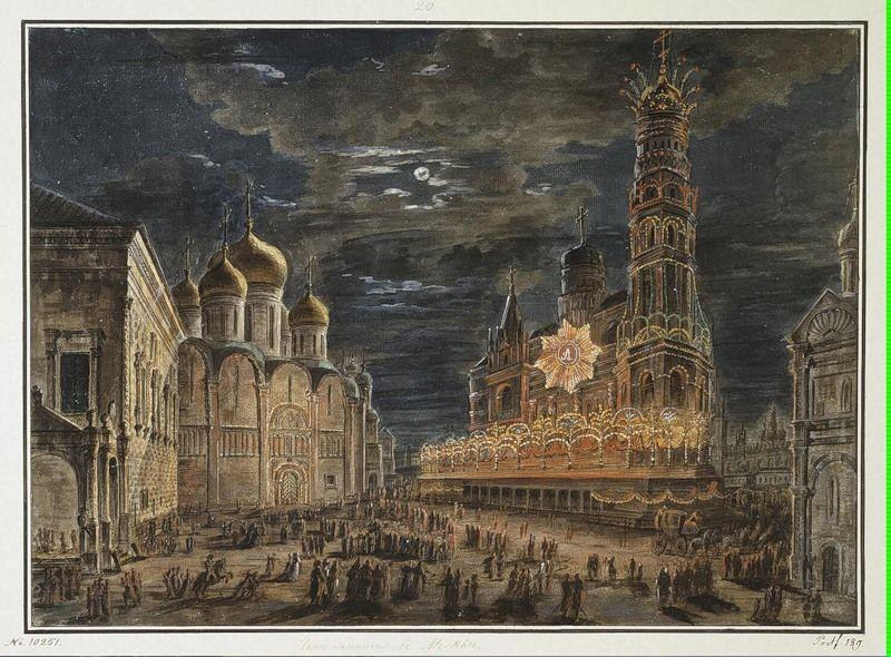 Illumination at Soboronaya Square on the occasion of the coronation of Alexander I - Fyodor Alekseyev