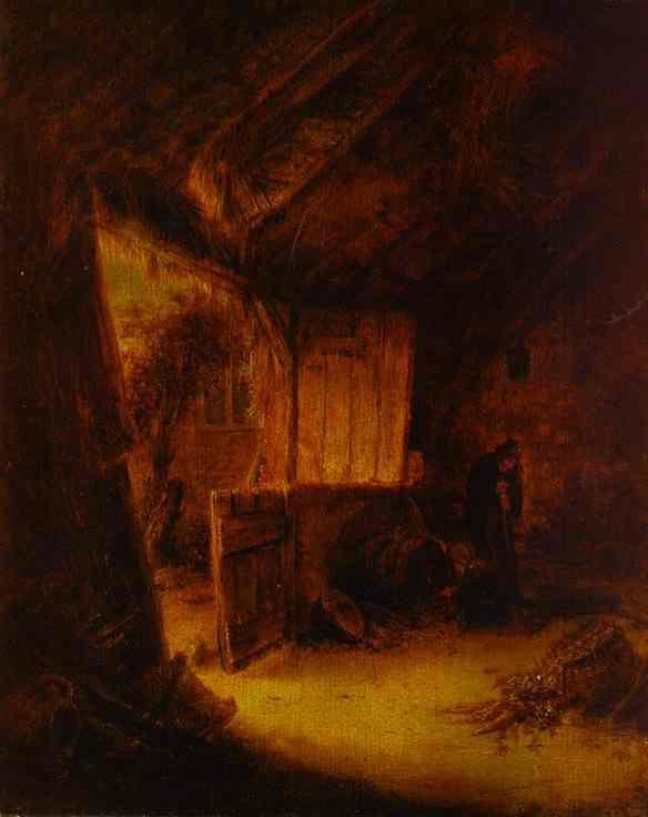 In a Barn - Adriaen van Ostade