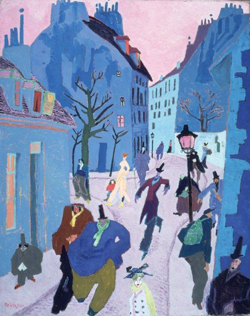 In a Village Near Paris (Street in Paris, Pink Sky) - Lyonel Feininger
