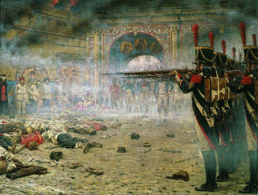 In Defeated Moscow ( Arsonists or Shooting in the Kremlin) - Vasily Vereshchagin