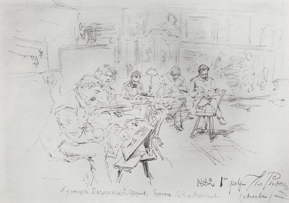 In Repins studio. Drawing evening. - Ilya Repin