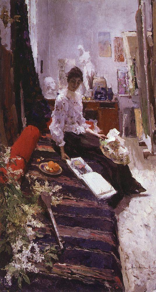 In the artist's studio  - Konstantin Korovin