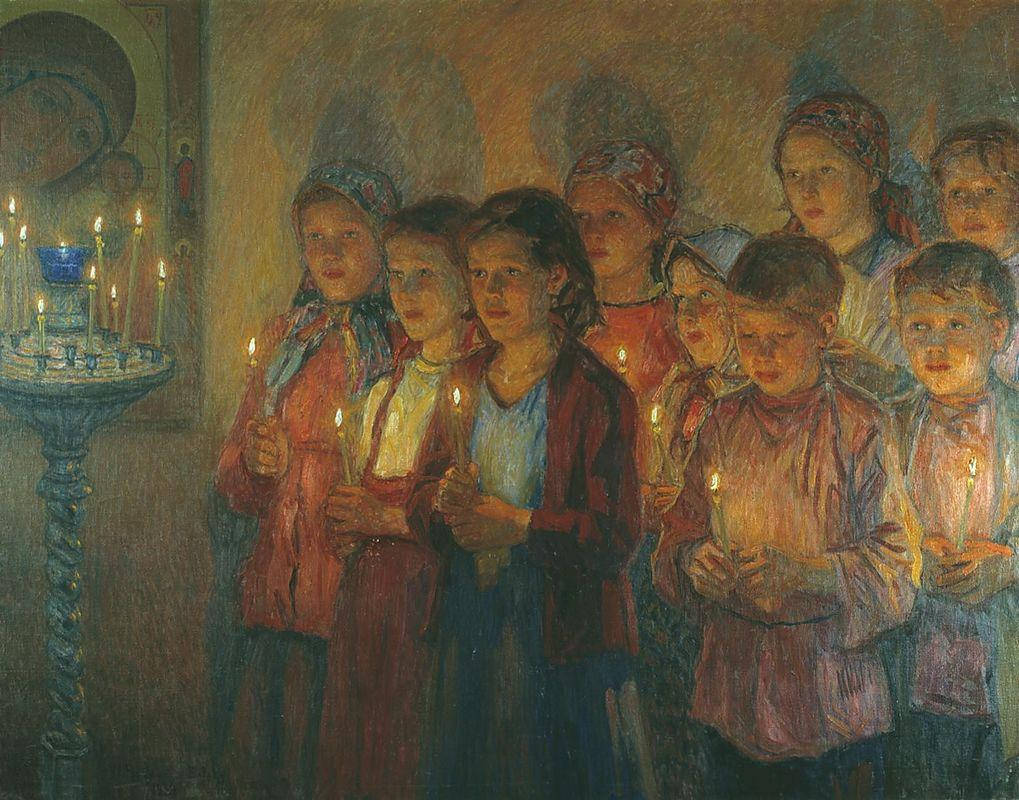 In the Church - Nikolay Bogdanov-Belsky