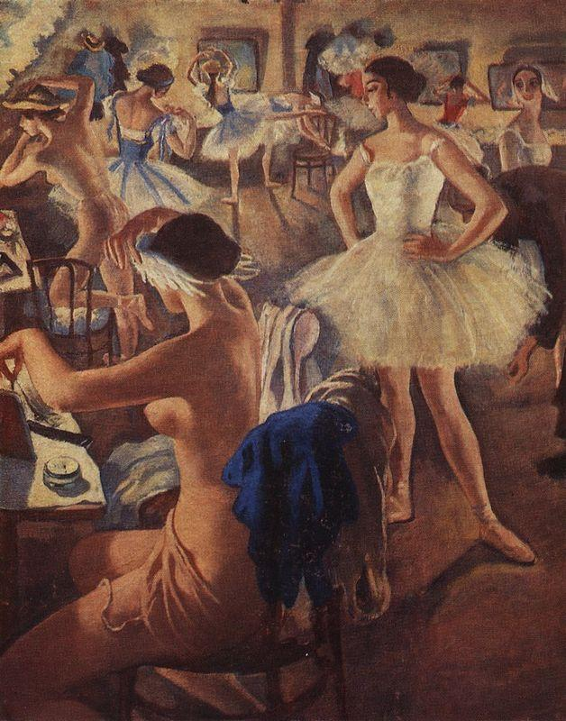 In the dressing room ballet (Swan Lake) - Zinaida Serebriakova