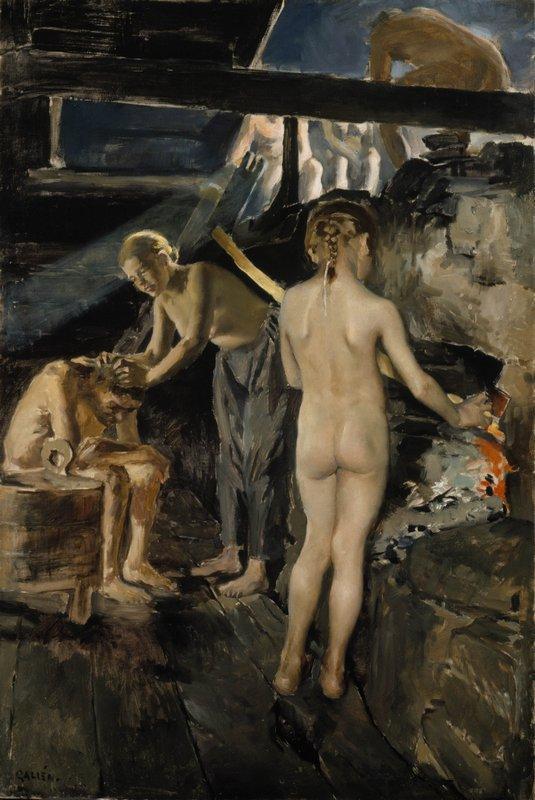 In the sauna  - Akseli Gallen-Kallela