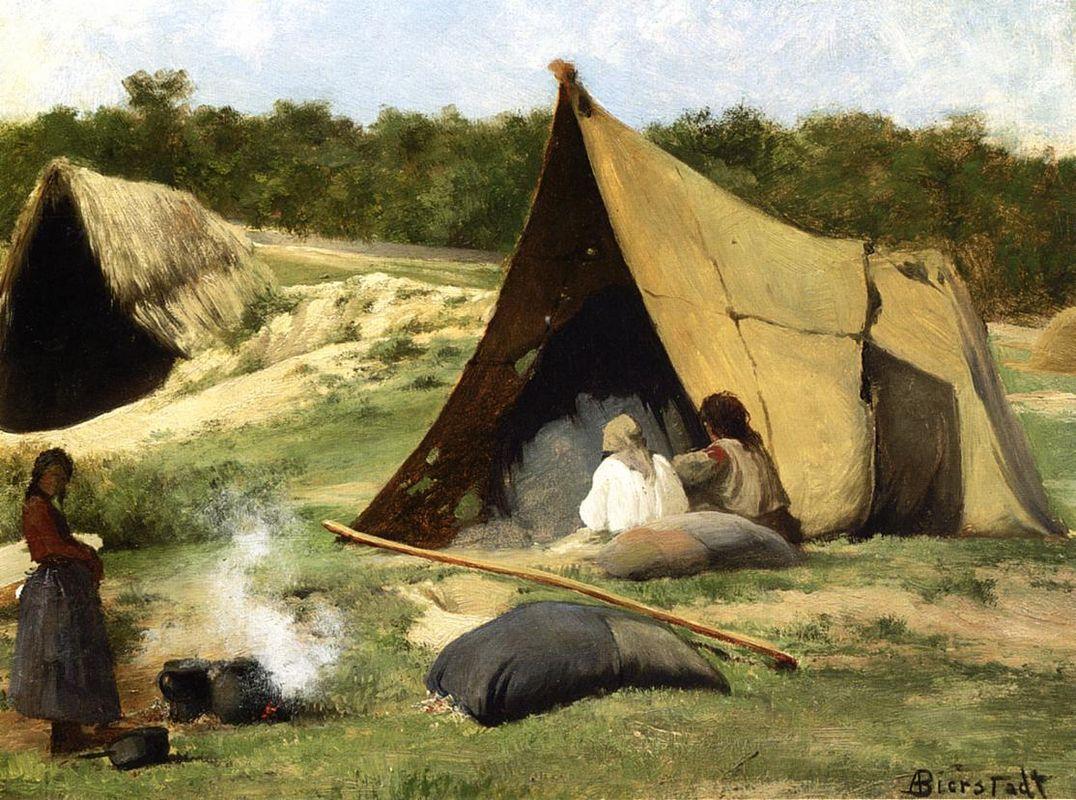 Indian Camp - Albert Bierstadt