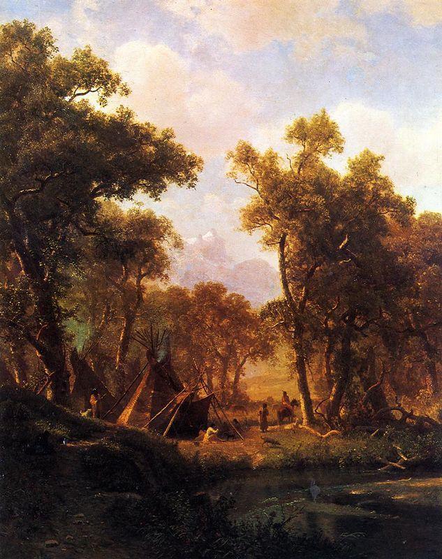 Indian Encampment, Shoshone Village  - Albert Bierstadt