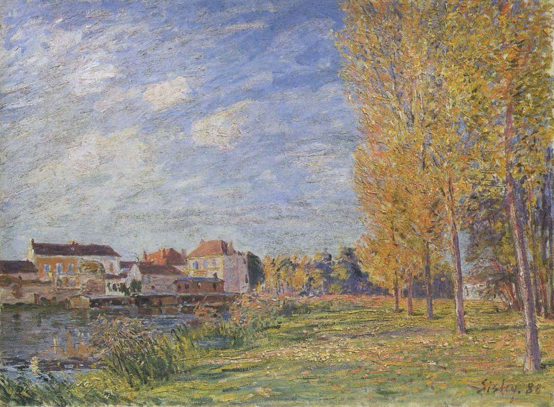 Indian Summer at Moret Sunday Afternoon - Alfred Sisley