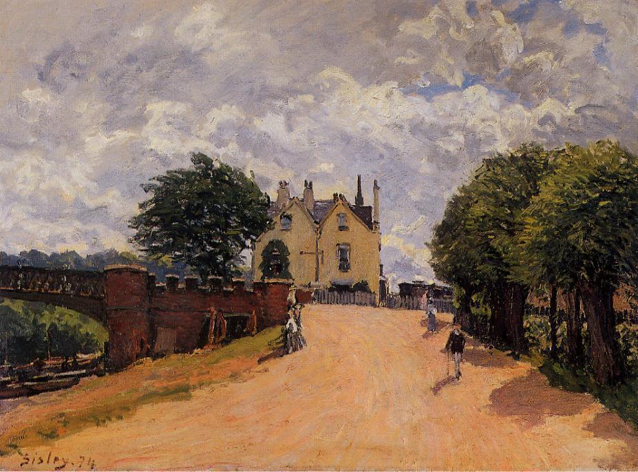 Inn at East Molesey with Hampton Court Bridge - Alfred Sisley