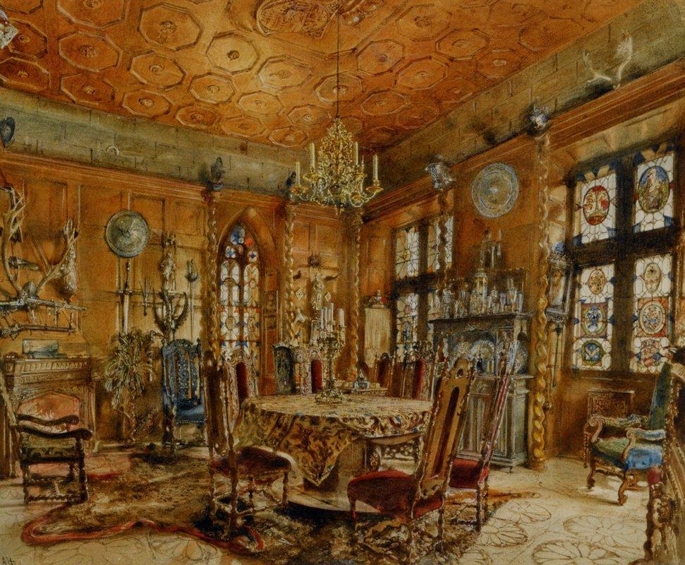 Interieur of castleIn Renaissance Style - Rudolf von Alt