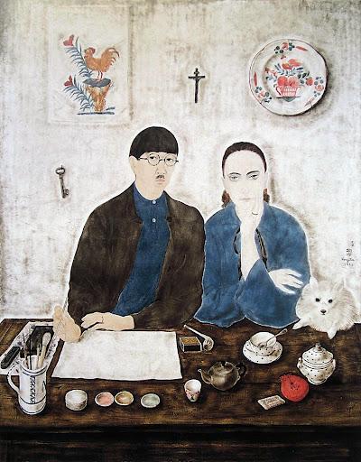 Interior, My Wife and Myself - Tsuguharu Foujita
