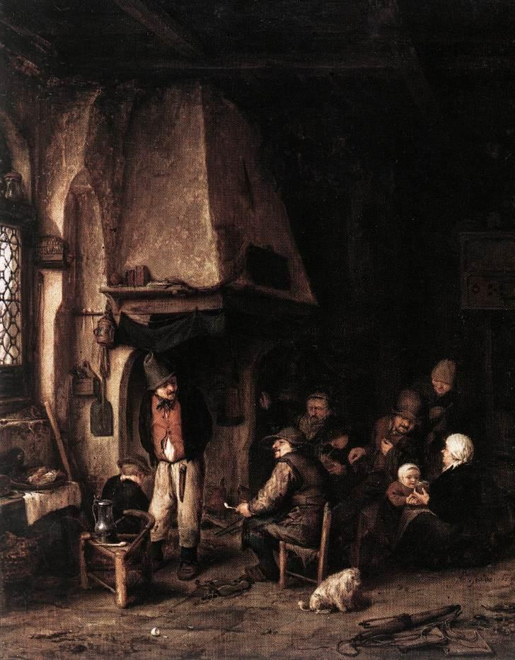 Interior of a Farmhouse with Skaters - Adriaen van Ostade
