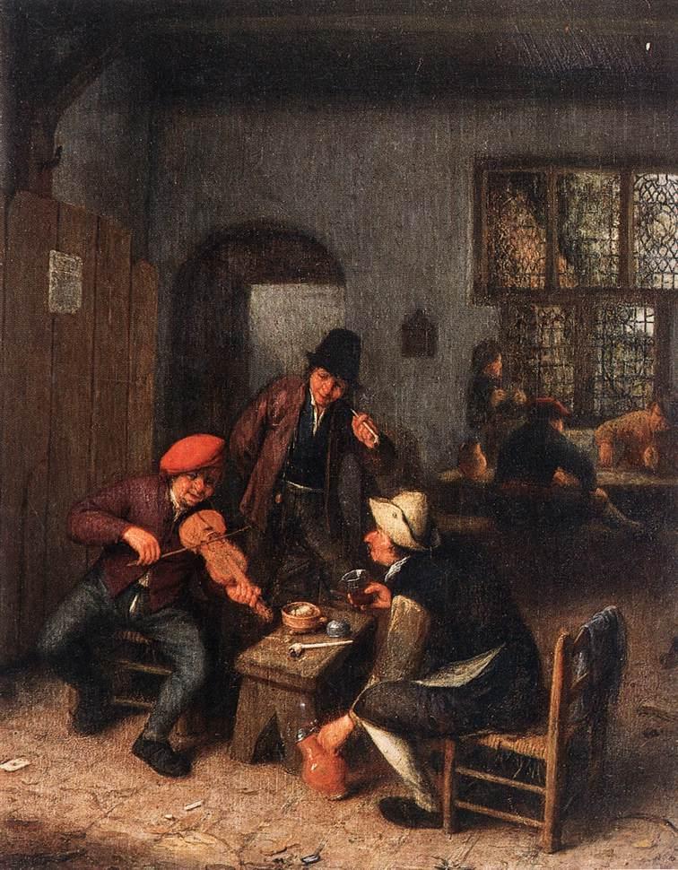 Interior of a Tavern with Violin Player - Adriaen van Ostade