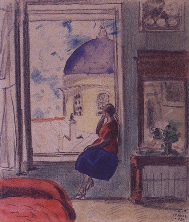 Interior. The female figure at the window (in studio) - Boris Kustodiev