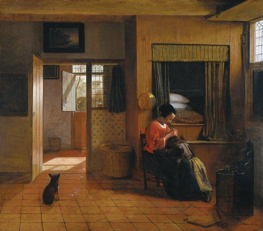 Interior with a Mother delousing her Child - Pieter de Hooch