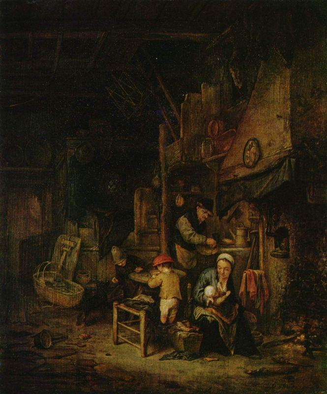Interior with a Peasant Family - Adriaen van Ostade