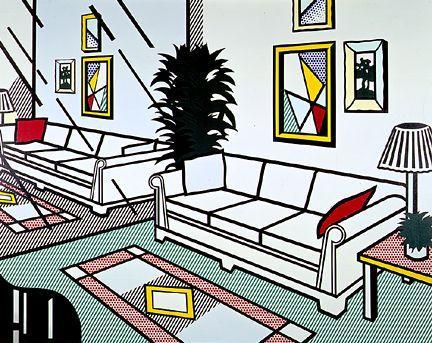 Interior with mirrored wall - Roy Lichtenstein