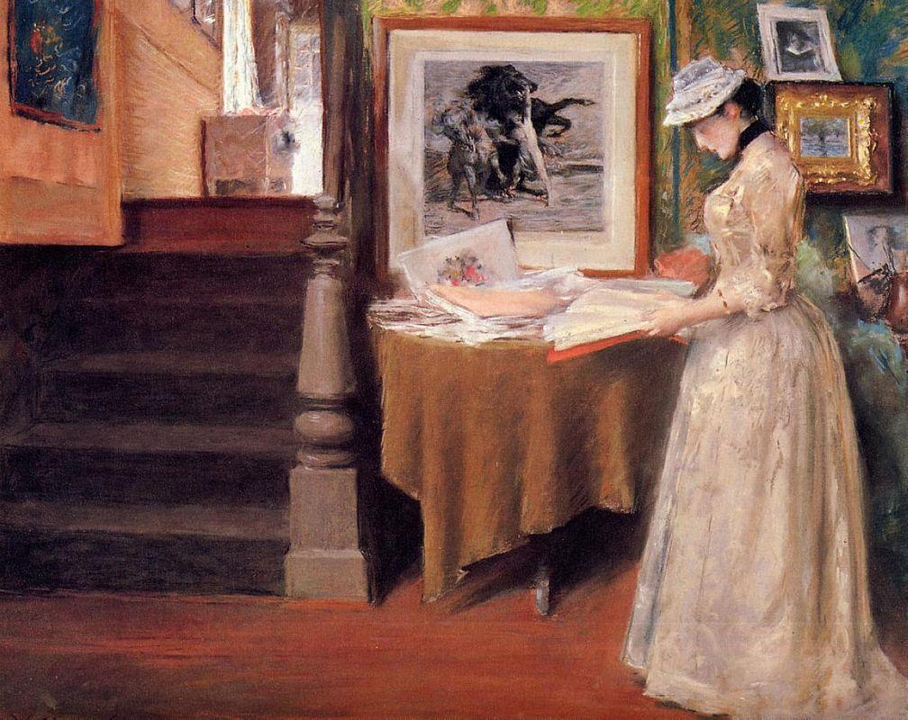 Interior, Young Woman at a Table - William Merritt Chase