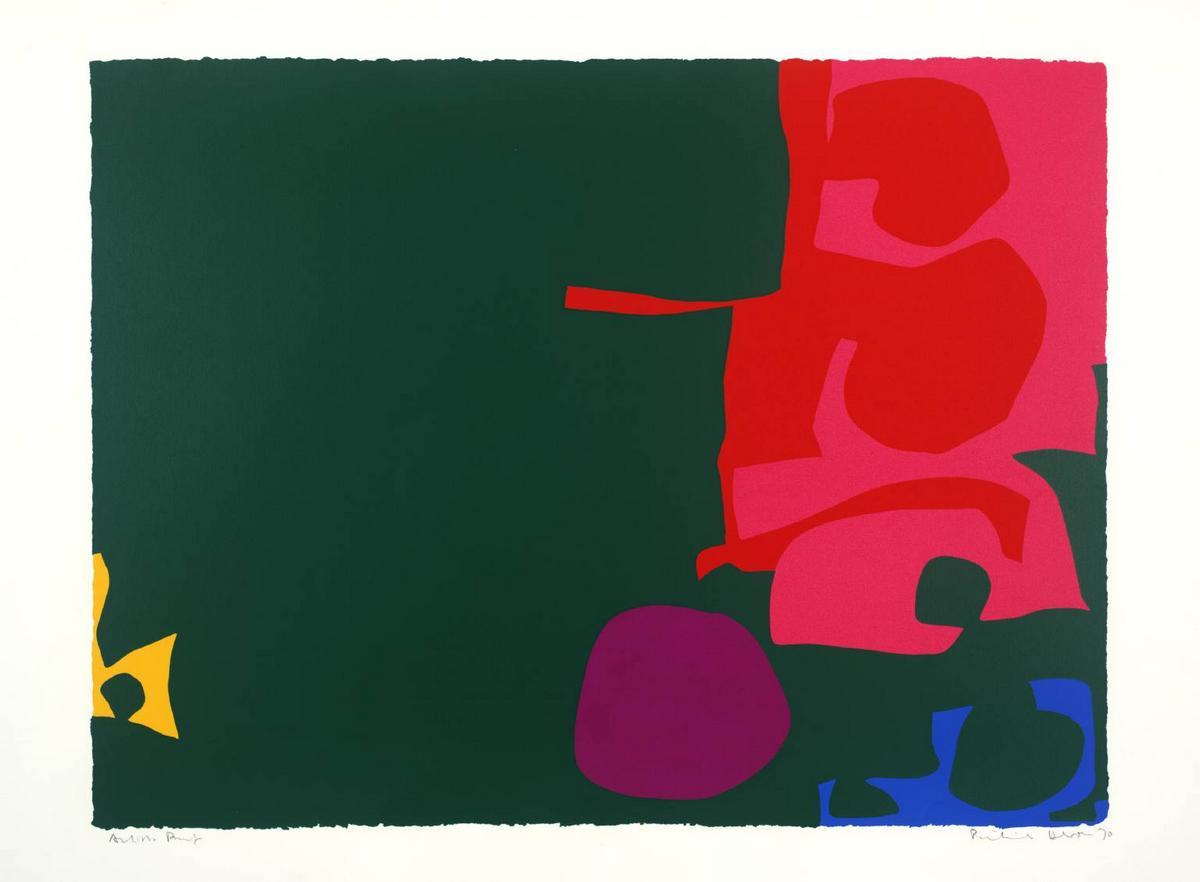 Interlocking Scarlet and Pink in Deep Green - Patrick Heron