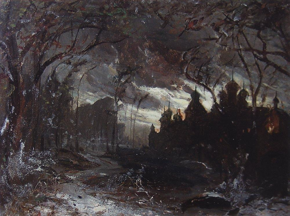 Ipatiev monastery in the winter night - Aleksey Savrasov