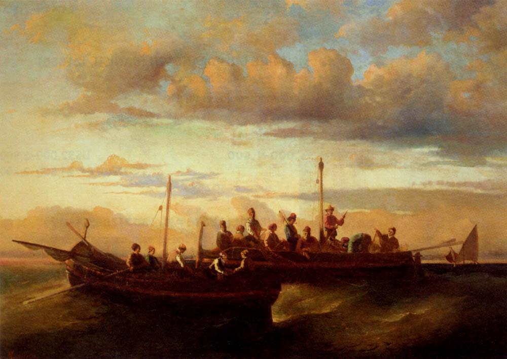 Italian Fishing Vessels at Dusk - Adolphe Joseph Thomas Monticelli