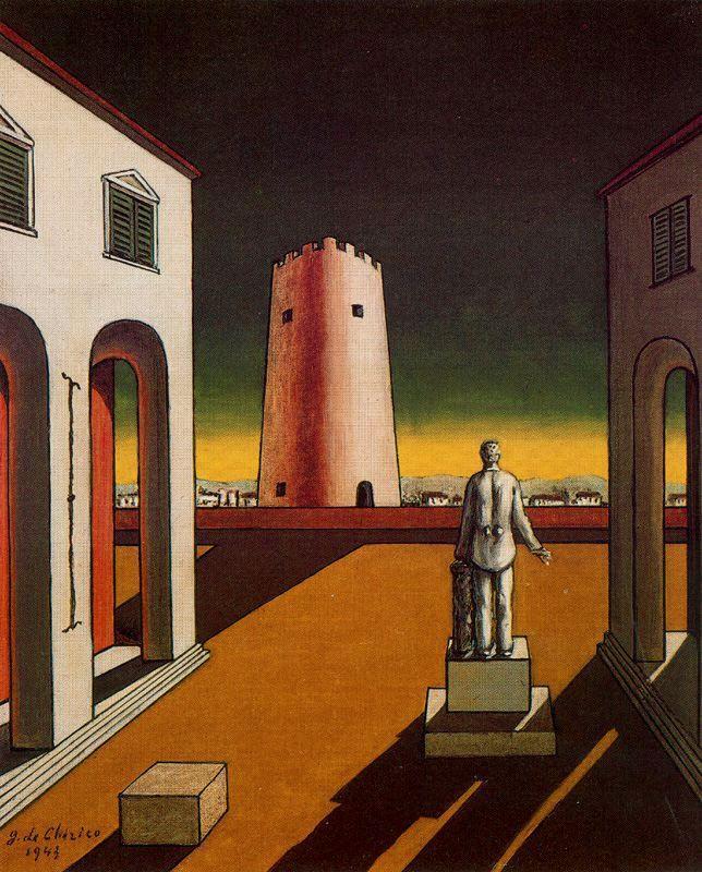 Italian plaza with a red tower - Giorgio de Chirico