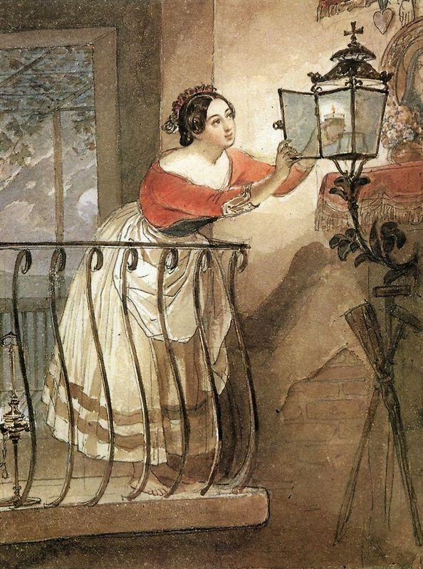 Italian Woman Lightning a Lamp in front of the Image of Madonna - Karl Bryullov